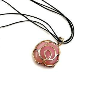 Beautiful Rose Stone & Leather Necklace